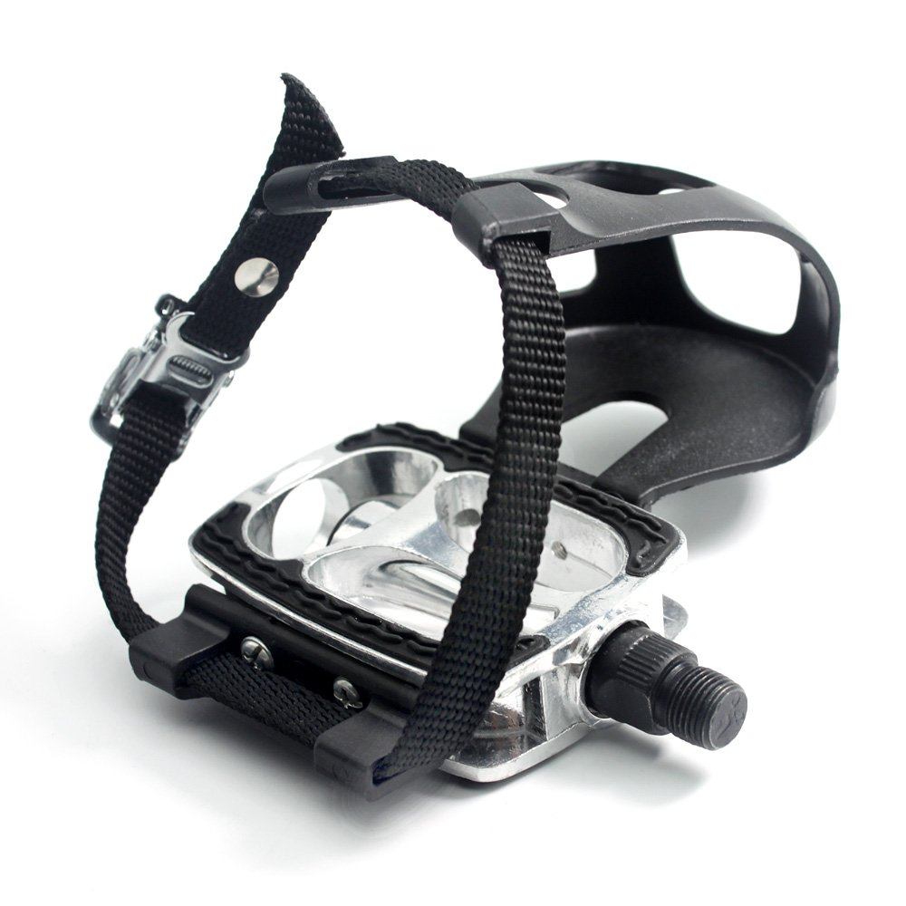 DRBIKE 9/16'' Bike Pedals with Strap for Exercise Bike, Spin Bike, Pedals with Strap,