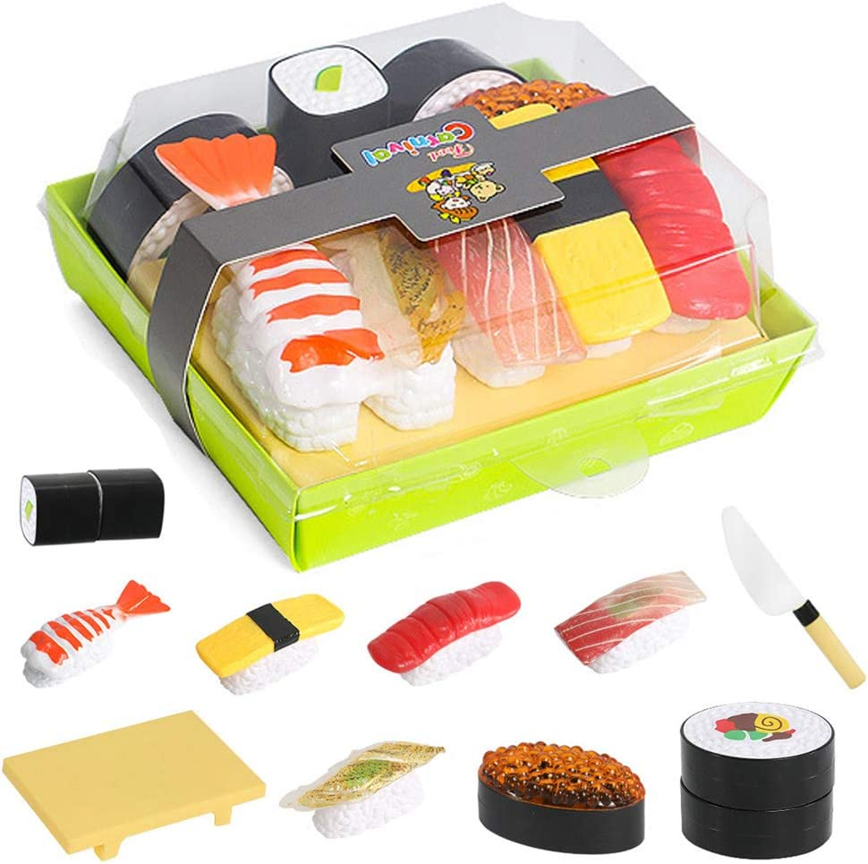 Elitao Sushi Play Food Set, Play Food for Kids Kitchen - Toy Food Accessories - Toy Foods with Play Salmon and Sashimi Plastic Food for Pretend Play, Great Gift for Girls Boys Kids Toddler