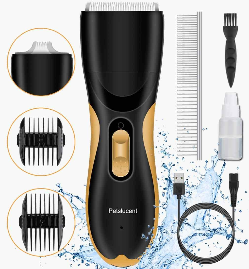 Petslucent Dog Clippers, Washable Pet Hair Grooming Kit with 2 Blade Heads, Low Noise Dog Trimmers Clipper Rechargeable Professional Cordless Shaver for Dogs, Cats, Rabbits and More Animals