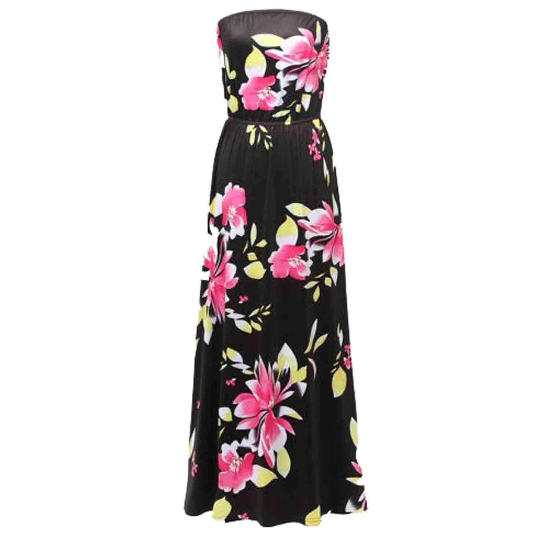 SUNNOW® NEU Damen Sommerkleider Maxikleider Bandeau Blumen Bedruckt Lang Rock Partykleider Abendkleider elegant