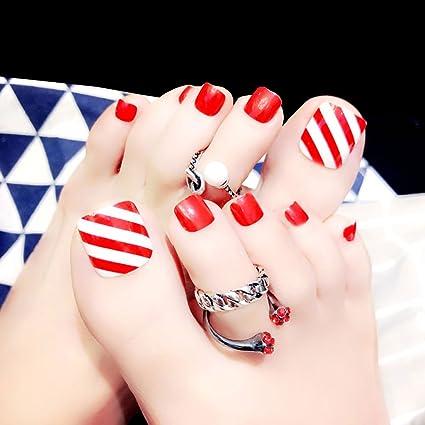 Ruda 24 pcs rojo corto falso falso uñas artificiales astuces dedo completo Nail Arte Herramientas J92