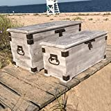 The Americana Steamer Trunks, Blanket Chests, Storage Boxes, Set of 2, Medallion and Tooled Metal Details, Hinged Top, Metal Handles, Latch, Lifting Lids, 34 and 27 Inches, By Whole House Worlds