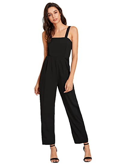 f84a8dde91c3 Amazon.com  Romwe Women s Sexy Sleeveless Adjustable Strap Button Back  Romper Tank Jumpsuit with Pocket  Clothing