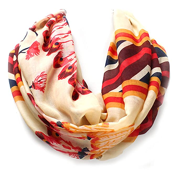 bbc79eda365a4 Black, Ivory, or Coral Pueblo Feather Western Style Infinity Scarf from the  WYO-HORSE Jewelry Collection (Ivory) at Amazon Women's Clothing store: