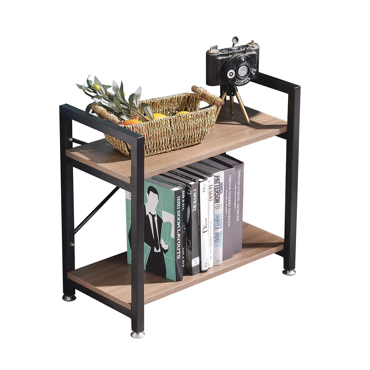 BENOSS Industrial Style Bookcases Furniture, Storage Rack Shelf for Bedroom, Living Room, Multi-Functional Shelf Units for Collection,Storage Organizer with Metal Frame (2 Tier)
