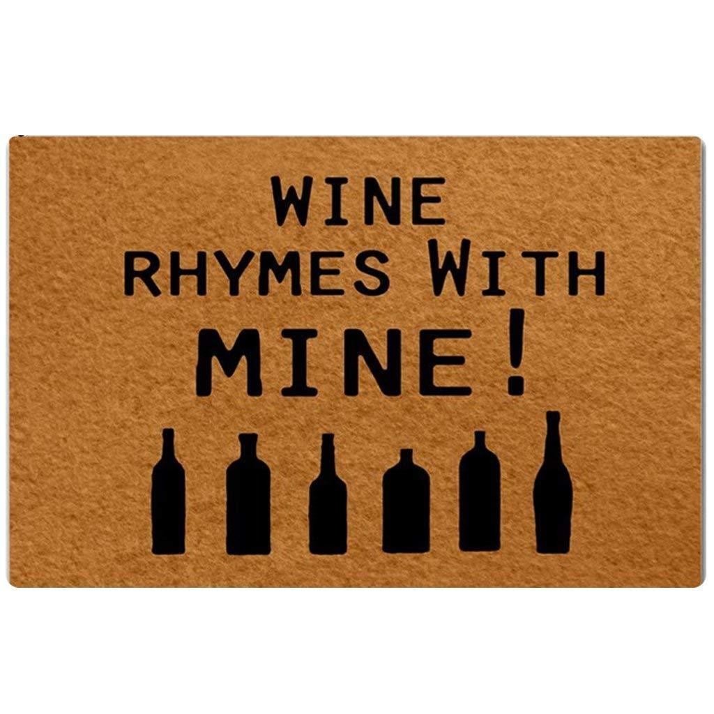 Amazon.com : Custom Door Mats Wine Rhymes With Mine! Doormat Indoor ...