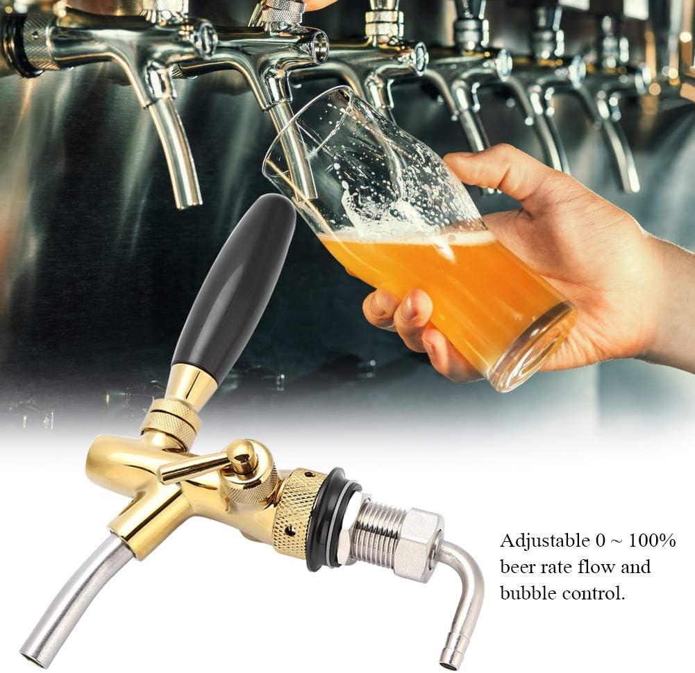 Jingyi Grifo de Cerveza Ajustable, Grifo de dispensador de Cerveza Ajustable de Acero Inoxidable Cromado G5/8 para Barra de Inicio(Oro)
