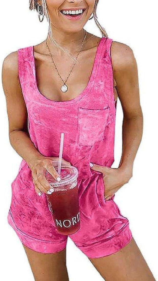 Zantt Womens Summer Pockets Sleeveless Casual Solid Short Jumpsuit Romper
