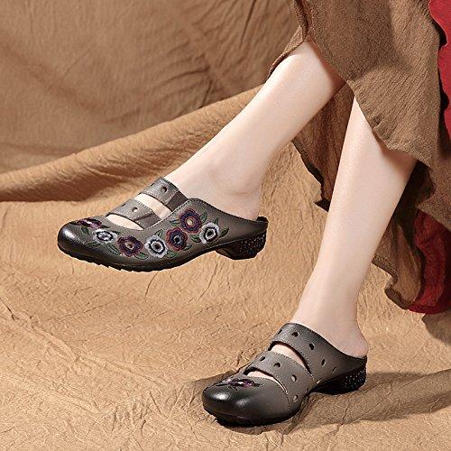 Donne gray Respirabile KPHY Estate Pantofole Retro Pantofole Fico Ricamati Svuotata Baotou 5Uwq6