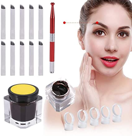 Maquillaje permanente agujas de tatuaje de cejas 3D pasadores ...