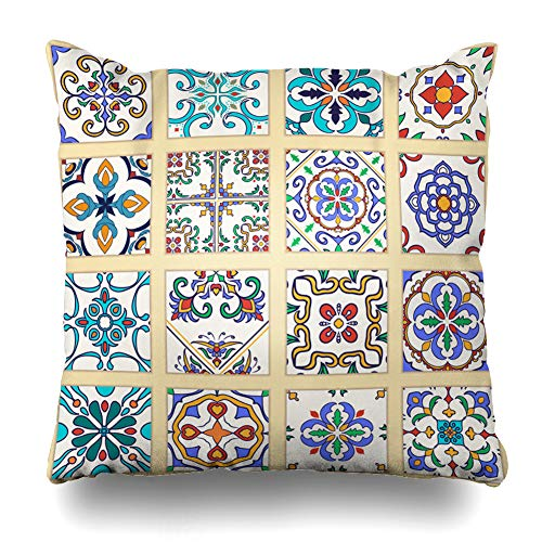 Ahawoso Throw Pillow Cover Cross Blue Flower Portuguese Tiles Colored Abstract Orange Arabesque Modern Azulejo Mosaic Wall Tile Decorative Pillow Case 18x18 Inches Square Home Decor ()