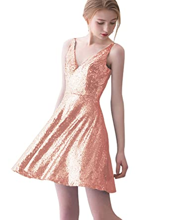 Sarahbridal Womens Prom Party Dresses Short V Neck Sequin Bridesmaid Homecoming Gowns Rose Gold US6