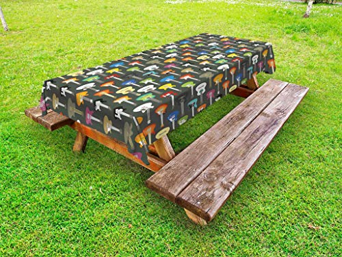 Ambesonne Guitar Outdoor Tablecloth, Grunge Instruments Stri