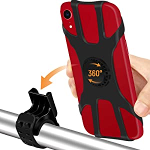 """Bike Phone Mount 2 Pack, Detachable Phone Holder for Bike, 360° Rotatable Bike Phone Holder for Cycling, Adjustable Silicone Strap, Universal Bicycle Phone Mount for iPhone and 4.0""""- 6.5"""" Smartphone"""
