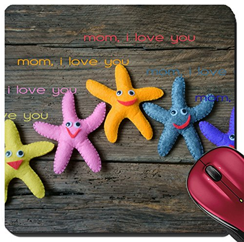 Liili Suqare Mousepad 8x8 Inch Mouse Pads/Mat IMAGE ID: 39233962 Happy mothers day with i love you mom message idea from colorful fabric starfish on wooden background abstra