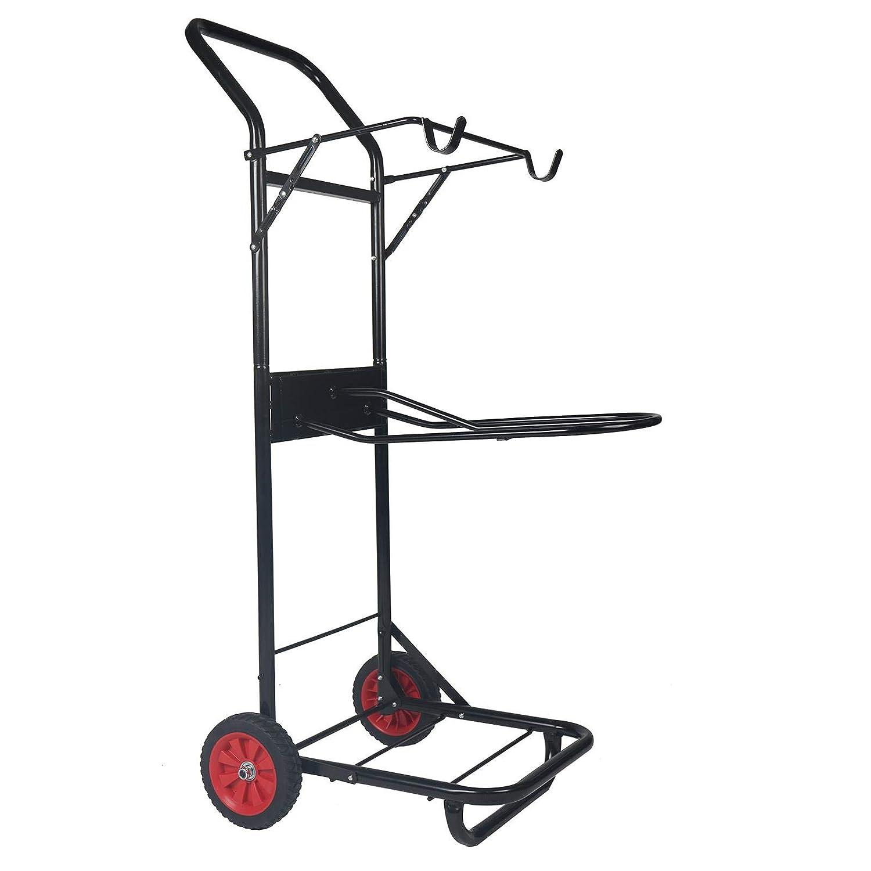Horka Metal Saddle Caddy Portable Galvanised Tack Trolly Wheelie 4 Foot Tall 3 Shelf Rack