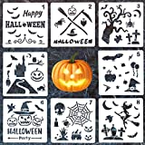 #8: 8 Pack Halloween DIY Decorative Stencils Set Halloween Stencils for Painting on Wood,Airbrush and Walls Art