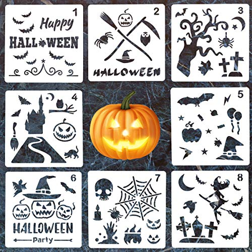 8 Pack Halloween DIY Decorative Stencils Set Halloween Stencils for Painting on Wood,Airbrush and Walls Art]()