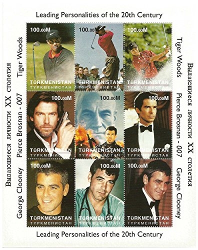 Original Tiger Woods Rookie MNH stamp sheet - Rare - 9 Stamps / Turkmenistan / 100.00M ()