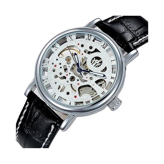 Nos 2015 caliente Lujo para hombre esqueleto mecánico banda de cuero reloj de pulsera reloj de pulsera 1 pieza negro: Amazon.es: Relojes