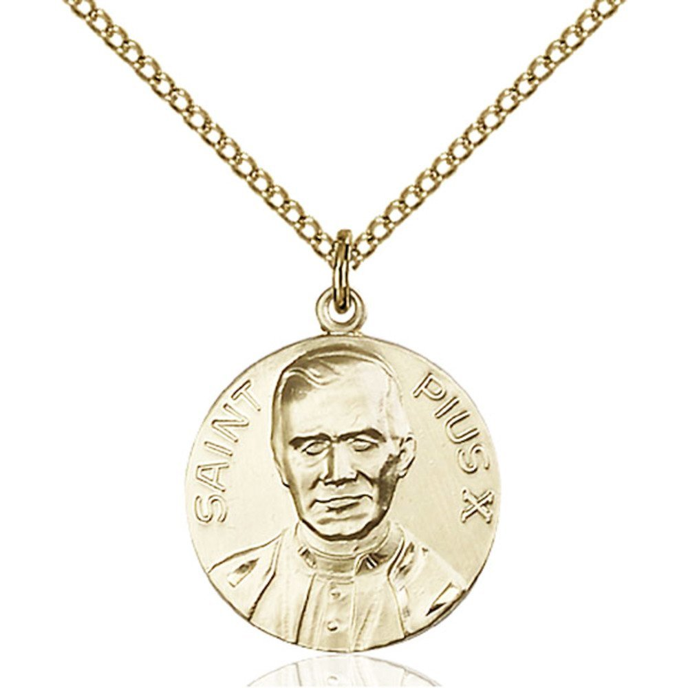 Gold Filled Pope Pius X Pendant 3/4 x 5/8 inches with Gold Filled Lite Curb Chain by Bonyak Jewelry Saint Medal Collection