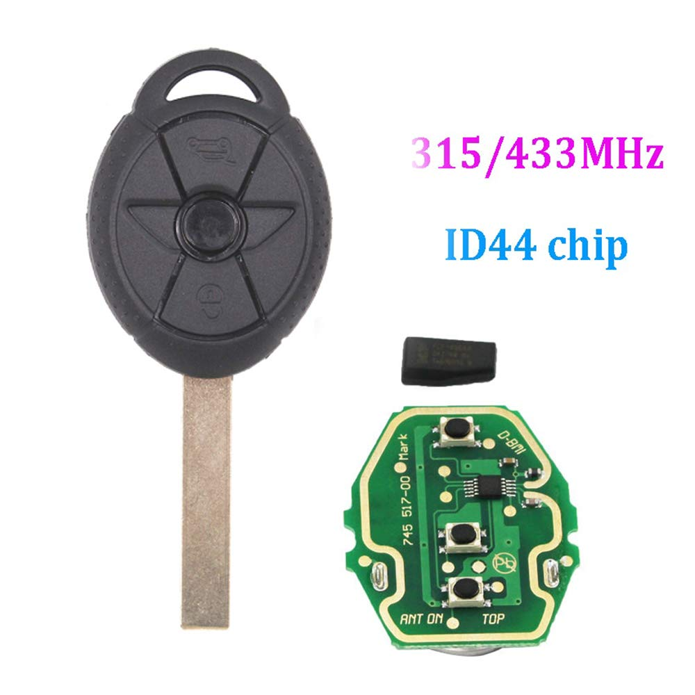 Dewangli New Uncut Chip Chip ID44 315MHz 433MHz Keyless Entry Remote Replacement Car Key Fob for BMW Mini Cooper 1.6L 2005-2007