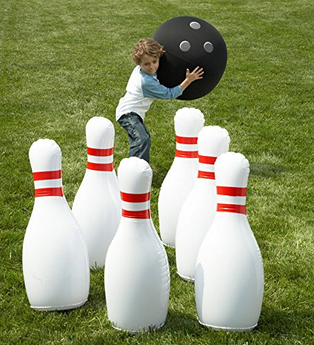 HearthSong Giant Inflatable Bowling Family Game Indoor Outdoor Active Play Kids Toys Pins-29