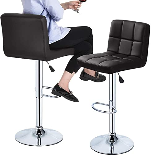 Bar stools Set of 2 Comfortable PU Leather Adjustable 360-swivel barstool