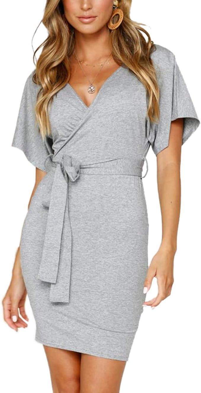 Ajpguot Kurz Kleid Damen Elegant Wickelkleider Sexy V-Ausschnitt