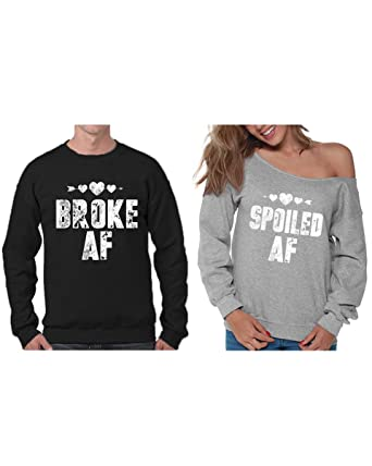 48c4c250b Vizor Matching Couples Broke AF Sweatshirt Funny Spoiled AF Off Shoulder  Sweater Black Grey Men Large
