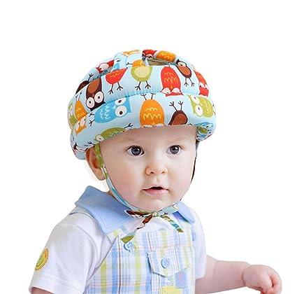 Sello de bebé niño pequeño casco de seguridad sombrero, ajustable cabeza protectora cojín de parachoques