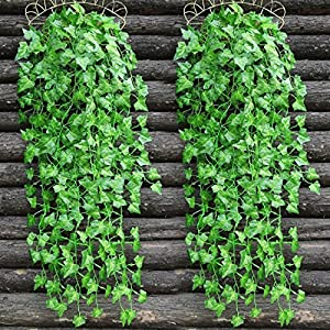 E-HAND Artificial Hanging Vine Leaf Garland Ivy Flower Fake Silk Leaves Greenery Wedding Kitchen Wall Garden Foliage Home Outdoor Party Festival Decor Wholesale 84 Ft 2