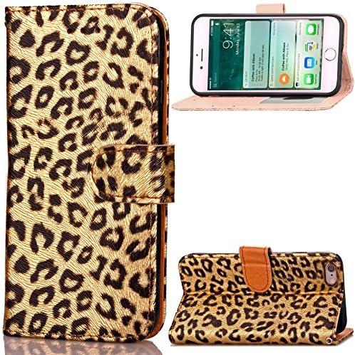 QFUN Leder Hülle für iPhone 6 Plus/6S Plus mit Leoparde Muster, Schön Leopardn Motiv Design Magnetverschluss Ständer Handyhülle Klappbar mit Kartenfach Stoßfest Schutztasche mit Handschlaufe - Gold