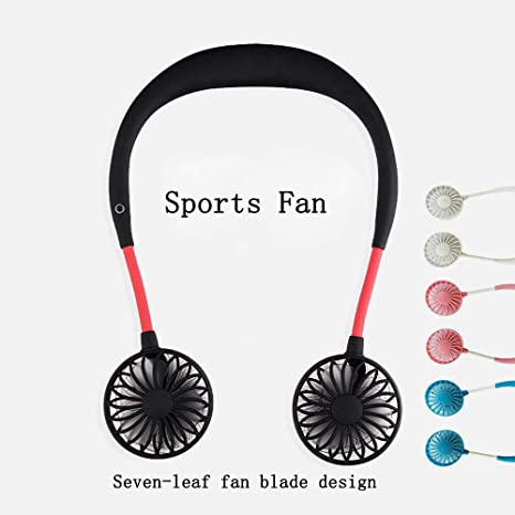 Quiet 3 Speeds Rechargeable Perfect for Sports Hand Free USB Personal Fan- Portable handheld Mini LED Fan Headphone Design Neckband Fan Internal rainbow and white Light Traveling and Office