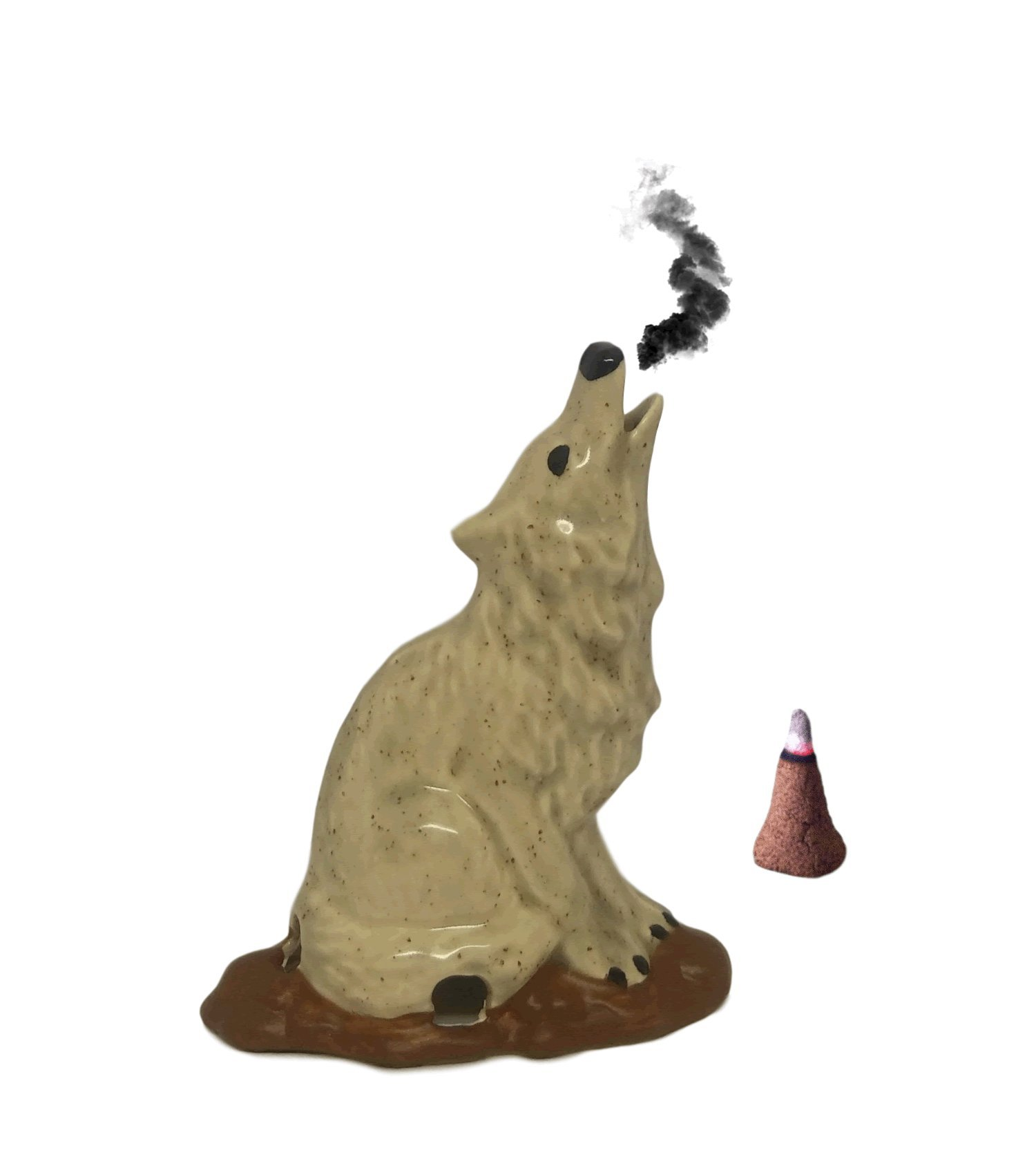 Mom's Majestics - 2018 Majestic Howling Smoking Wolf Totem Statue Bust Cone Incense Burner (Grey)