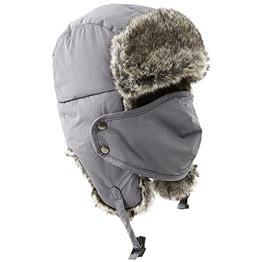 bc57477ac69 Winter Fur Trapper Trooper Russian Ushanka Windproof Snow Military Army Hunting  Hat for Women Men Grey