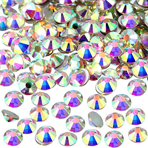 Onwon 144 Pieces SS40 / 8mm Clear Crystal Flat Back Brilliant Round Rhinestones Glass Stones Glitter Gems Transparent Faux Diamond, Non Self-Adhesive (Crystal - 40ss Crystal