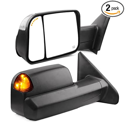 towing mirrors compatible for dodge ram, yitamotor power heated arrow turn  signal light tow mirrors