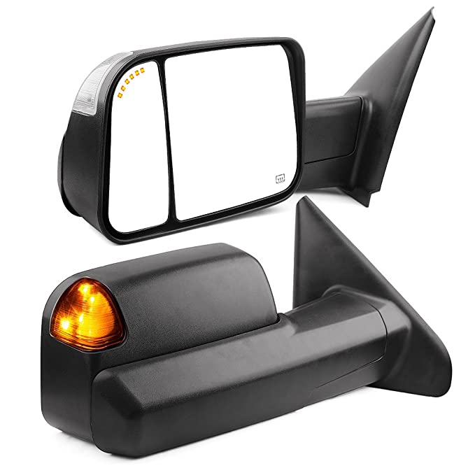 OEM Mirror Glass Convex Power Outer LH /& RH Pair for Dodge Ram Tow Package New