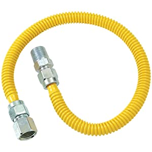 "BRASS CRAFT BrassCraft CSSD54-48 Gas Dryer & Water Heater Flex-Line OD x 48"" FIP x 1/2"" MIP"