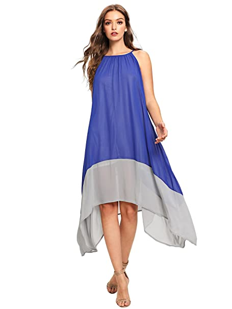 ca0b7e92c4c Milumia Women s Color-Block Chiffon Loose Long Maxi Dress at Amazon ...