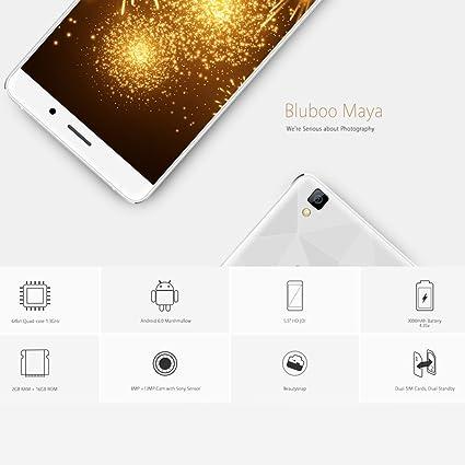 BLUBOO Maya 3G WCDMA Smartphone Android 6.0 5.5 Pantalla 1280 * 720pix 64bit MTK6580A Quad-Core 1.3GHz 2GB+16GB 8.0MP+13.0MP Cámaras 3000mAh Batetía: Amazon.es: Electrónica