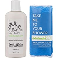 Brilliant Booty Kit | Butt Acne Clearing Lotion and ExfoliMATE Magic Body Exfoliating Cloth for Soft & Young Skin (Aqua)