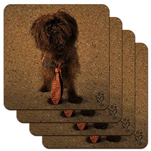 (Affenpinscher Puppy Dog with Tie Low Profile Novelty Cork Coaster Set)