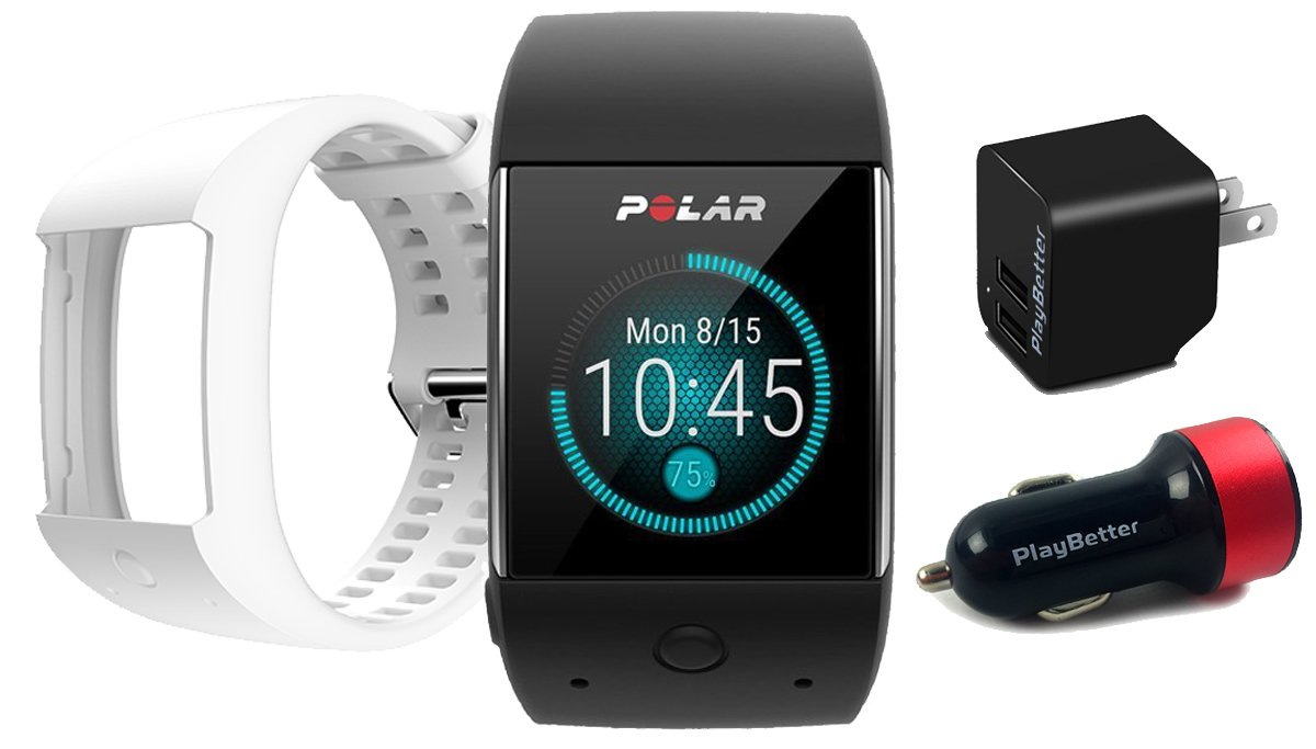 Polar M600 (Black) GPS Watch BUNDLE with Extra Band (White) & PlayBetter Wall/Car USB Charging Adapters | Sports GPS Smartwatch with Wrist-Based Heart Rate