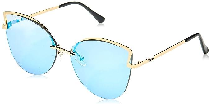 f8b6ae9018613 Amazon.com  MAREINE Unisex Cateye Sunglasses Mirrored Blue Lens Gold Frame  Medium Size  Clothing