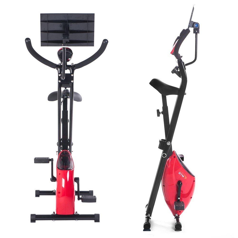 BTM plegable bicicleta estática magnética X-Bike F-Bike Fitness ejercicio de Cardio Pérdida de Peso Máquina con iPad Hold, rojo: Amazon.es: Electrónica