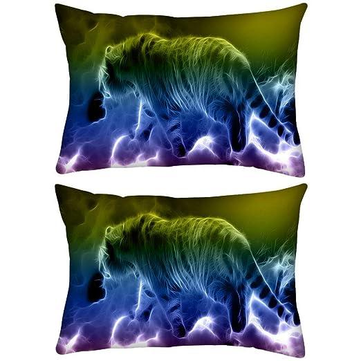 Pack de 2 Neon Tiger Walking Rectángulo Toss Throw Pillow ...