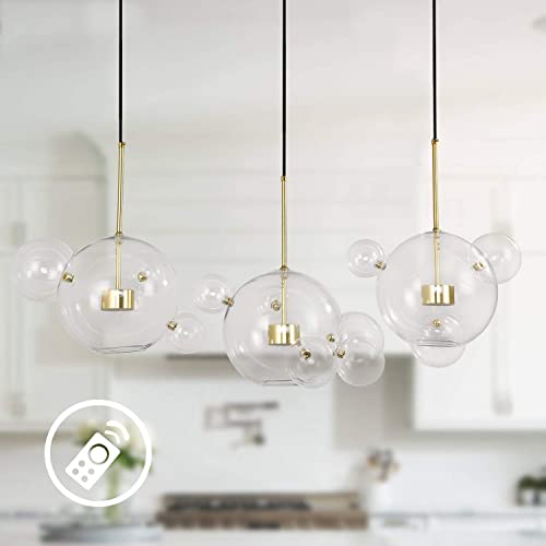 EDISLIVE Soap Bubble Chandeliers with 3 Glass Pendant Light 14 Glass Globe Pendant Ceiling Light for Kitchen Island Lights Fixture Long Canopy