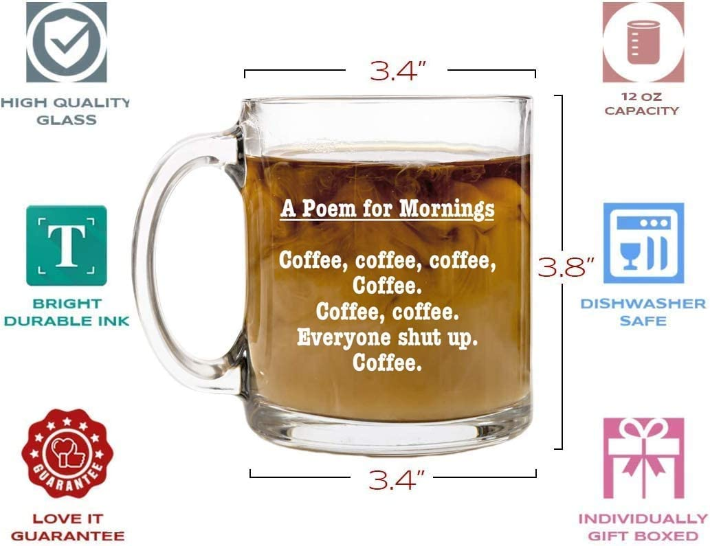 Sister Gag Gifts for Mothers or Fathers Day Humor Us Home Goods SYNCHKG128272 Best Friends Coworker Mugs for Men and Women Dad A Poem for Mornings Funny Coffee Mug 13 oz Glass Brother Birthday Gift Ideas for Mom